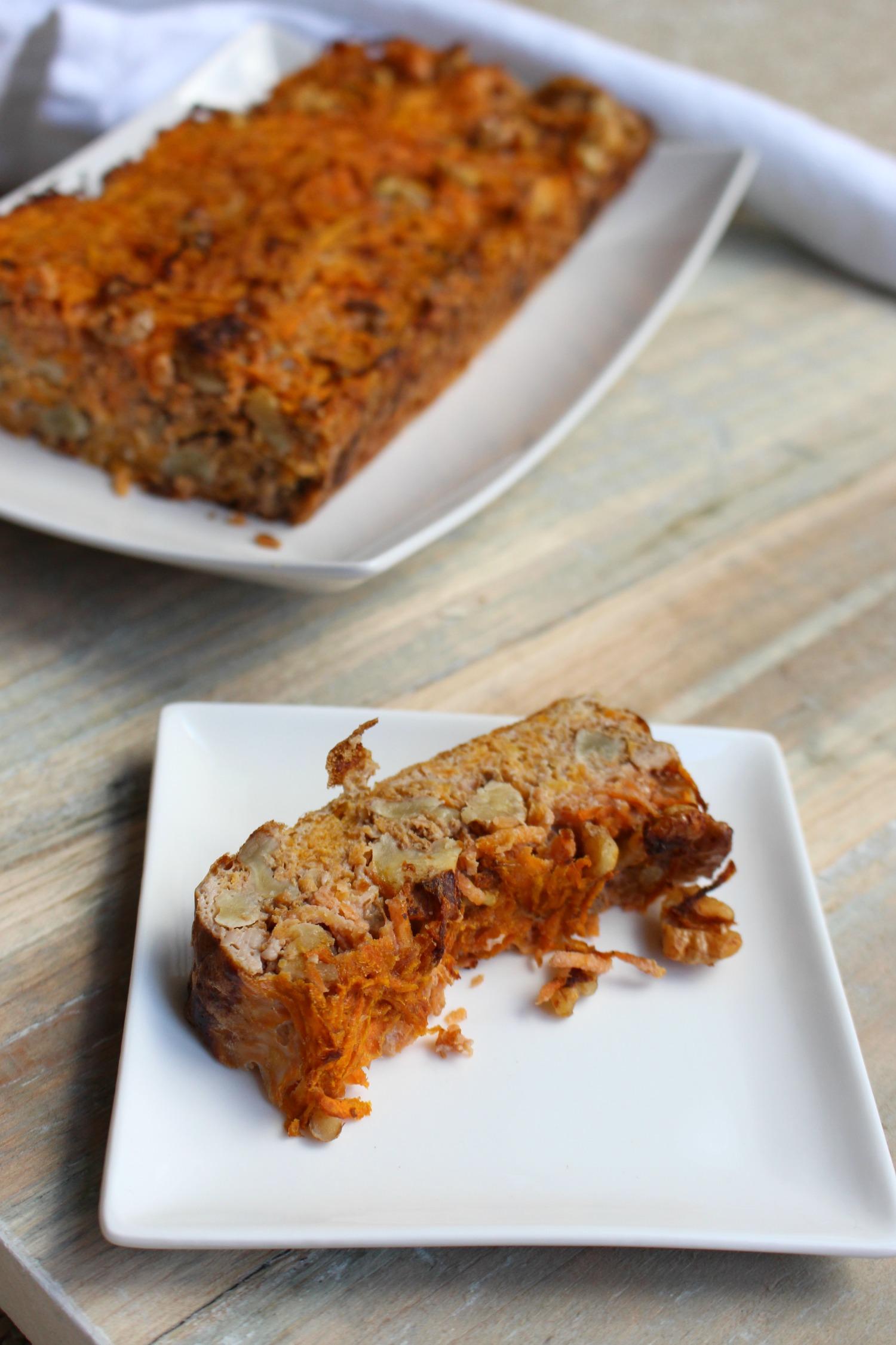 Wortel en noten cake