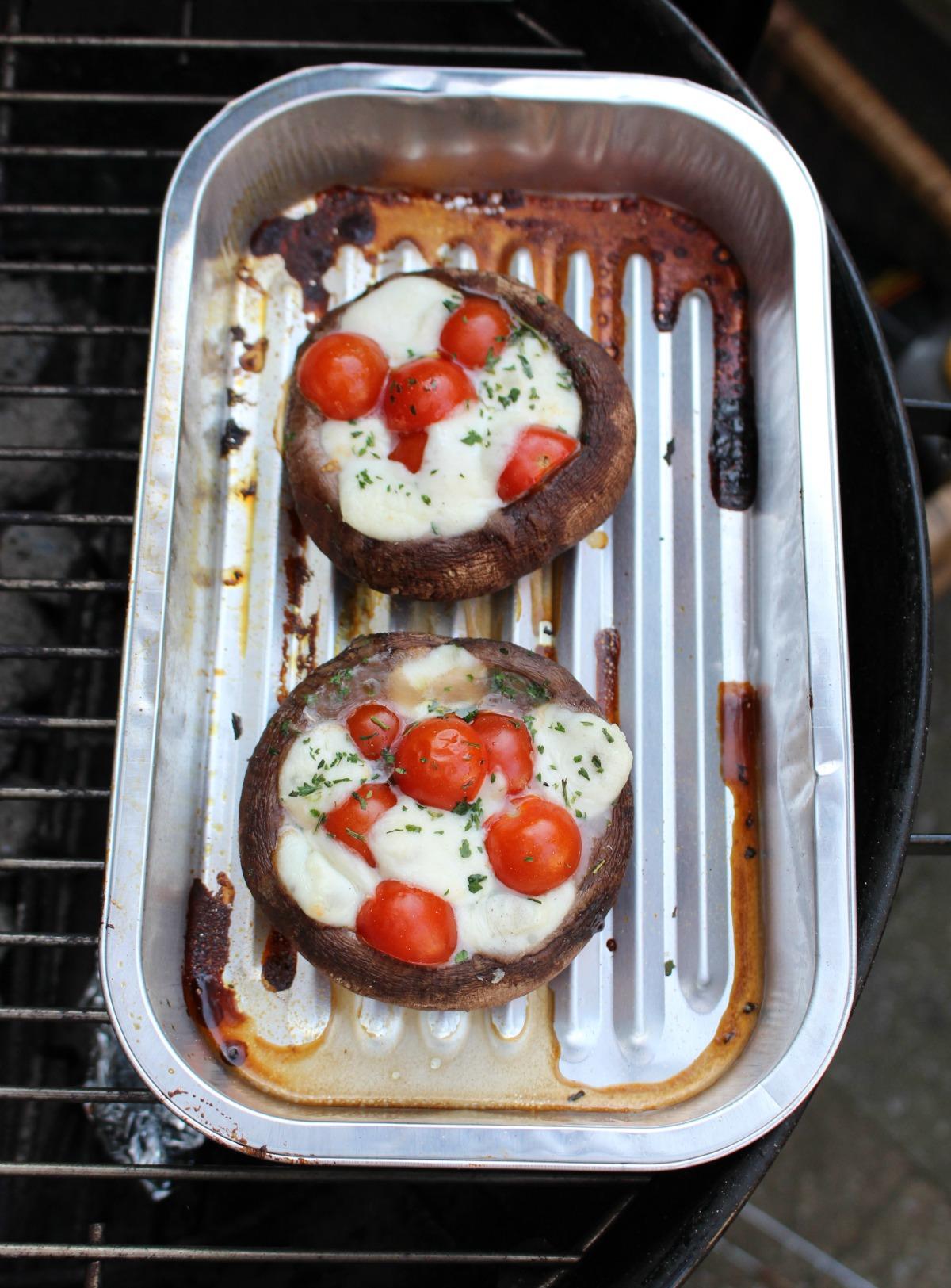 Portobello met tomaat en mozzarella