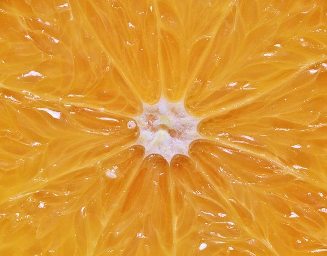 Binnenste van de sinaasappel van dichtbij