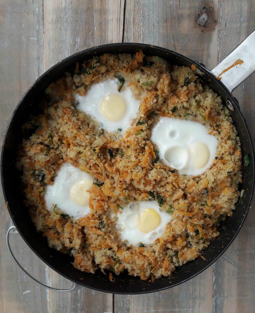 pan met bloemkool en zoete aardappelrijst