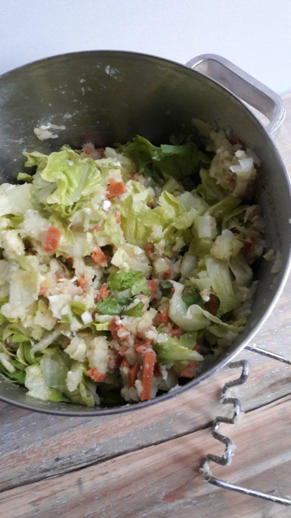 stamppot zoete aardappel en sla