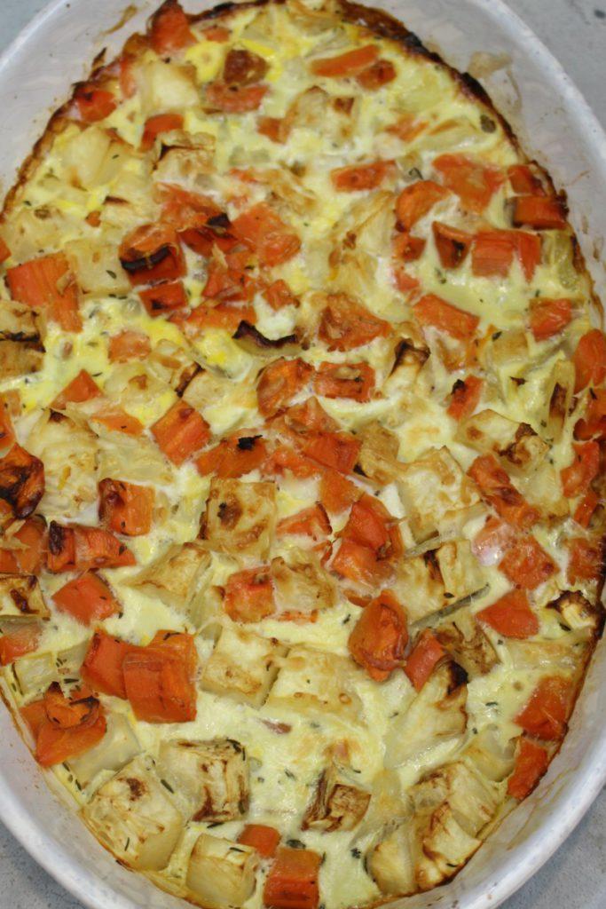 ovenschotel met knolselderij en wortel