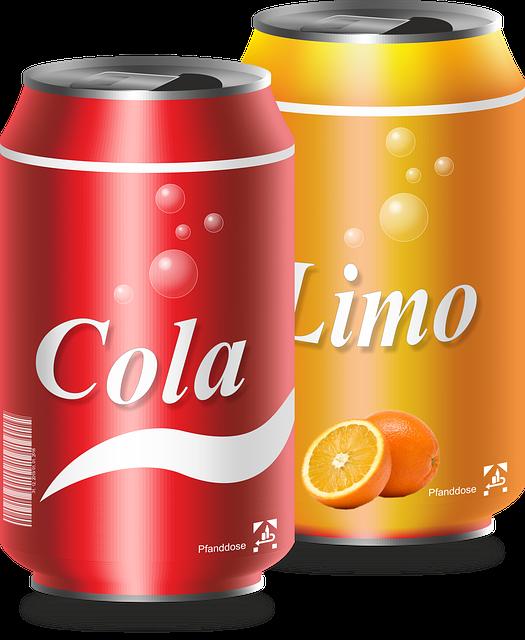 afbeelding blikje cola en limo
