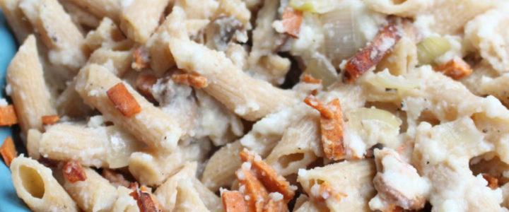 Gezonde romige pasta carbonara