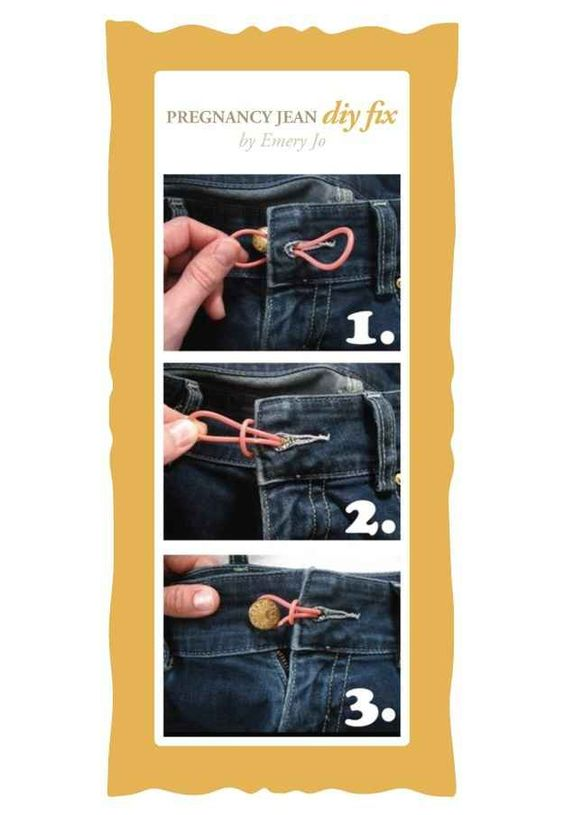 Afbeelding van elastiek om knoop van broek dicht te maken als je zwanger bent
