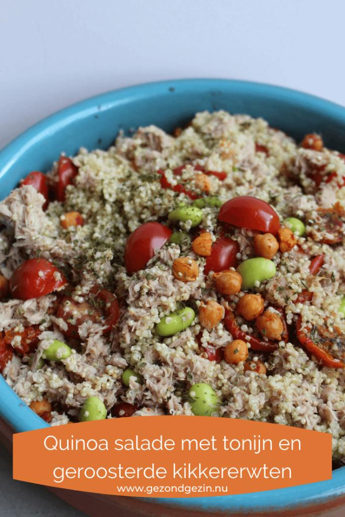 Quinoa salade met tonijn en geroosterde kikkererwten