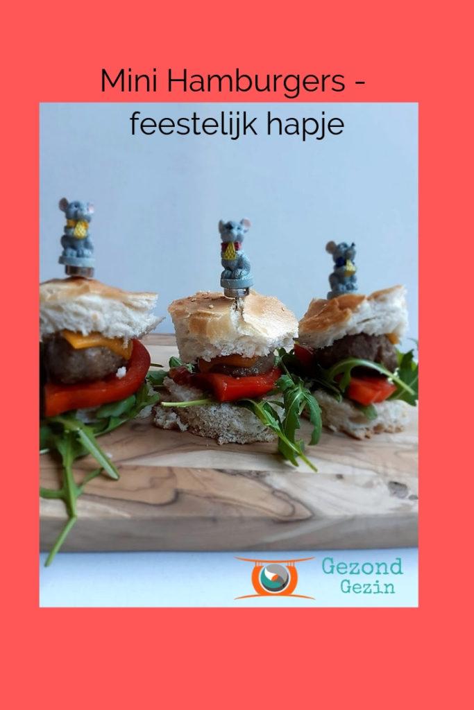 recept voor een feestelijk hapje, namelijk mini hamburgers