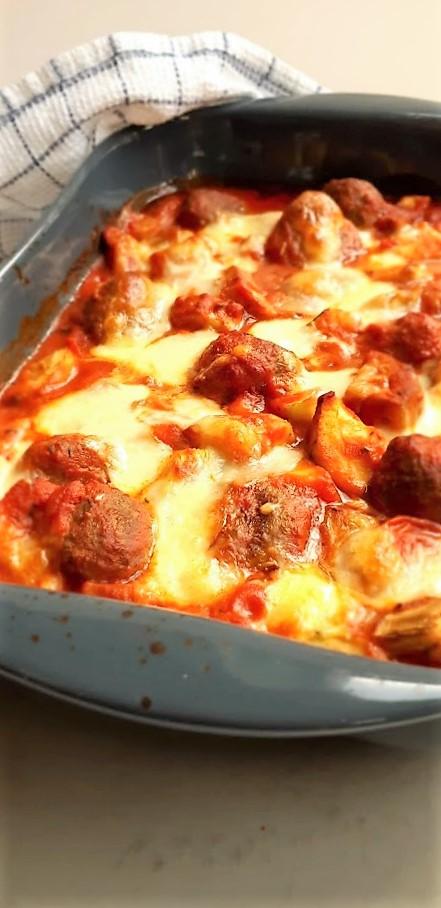 ovenschotel met gehaktballetjes en groenten