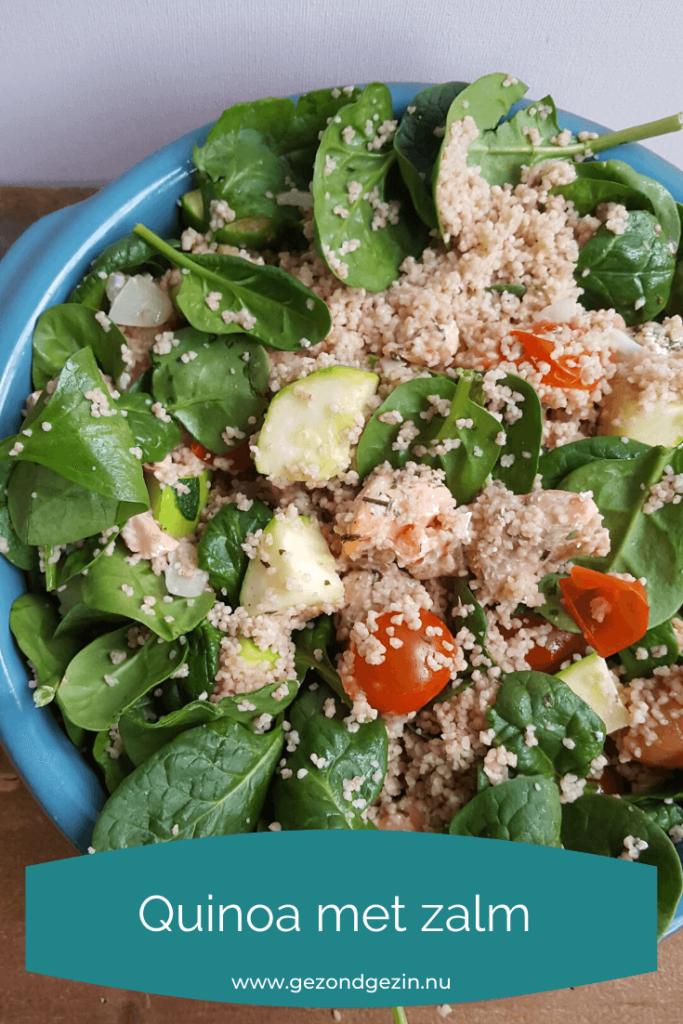 Quinoa met zalm en groenten uit de oven