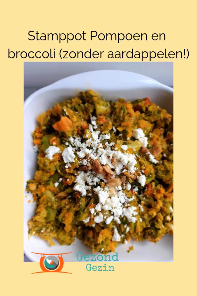 stamppot met broccoli en pompoen, dus zonder aardappelen
