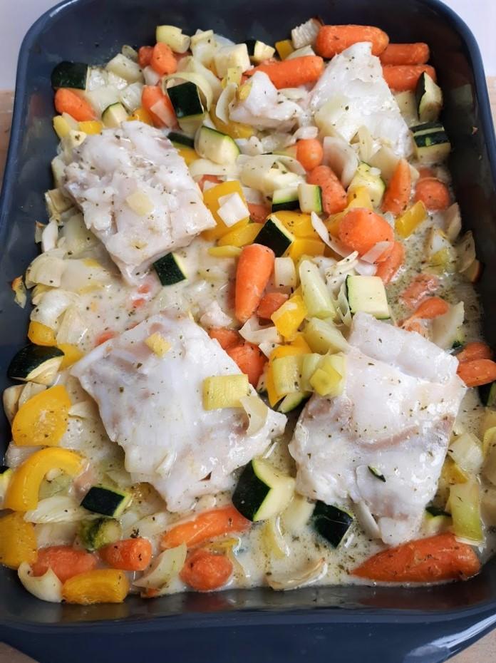 Kabeljauw met groenten uit de oven (koolhydraatarm)