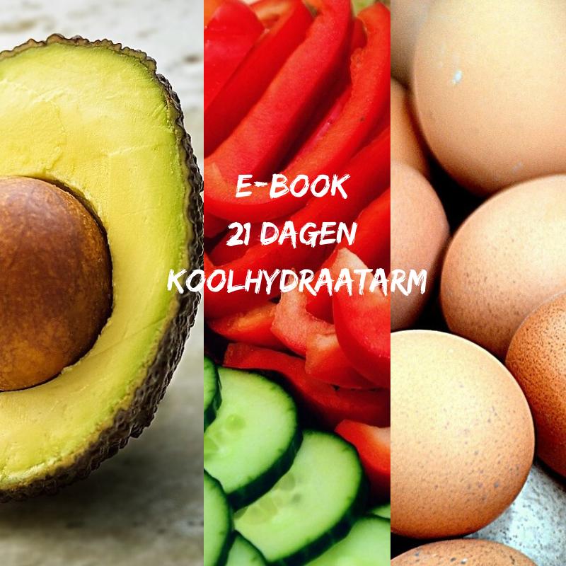 Plaatje van avocado, paprika, komkommer en eieren