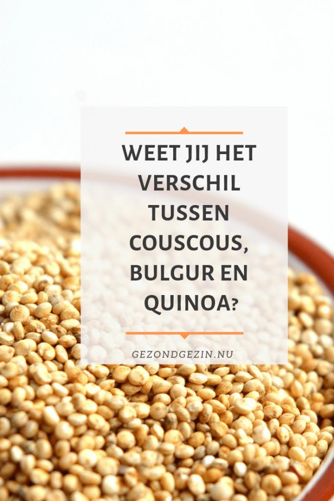 Bak met bulgur met de tekst weet jij het verschil tussen couscous, bulgur en quinoa