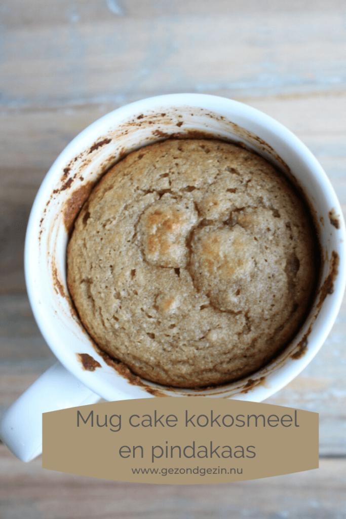 mug cake met kokosmeel en pindakaas