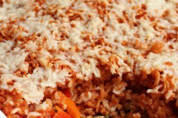 ovenschotel met kip, rijst en paprika