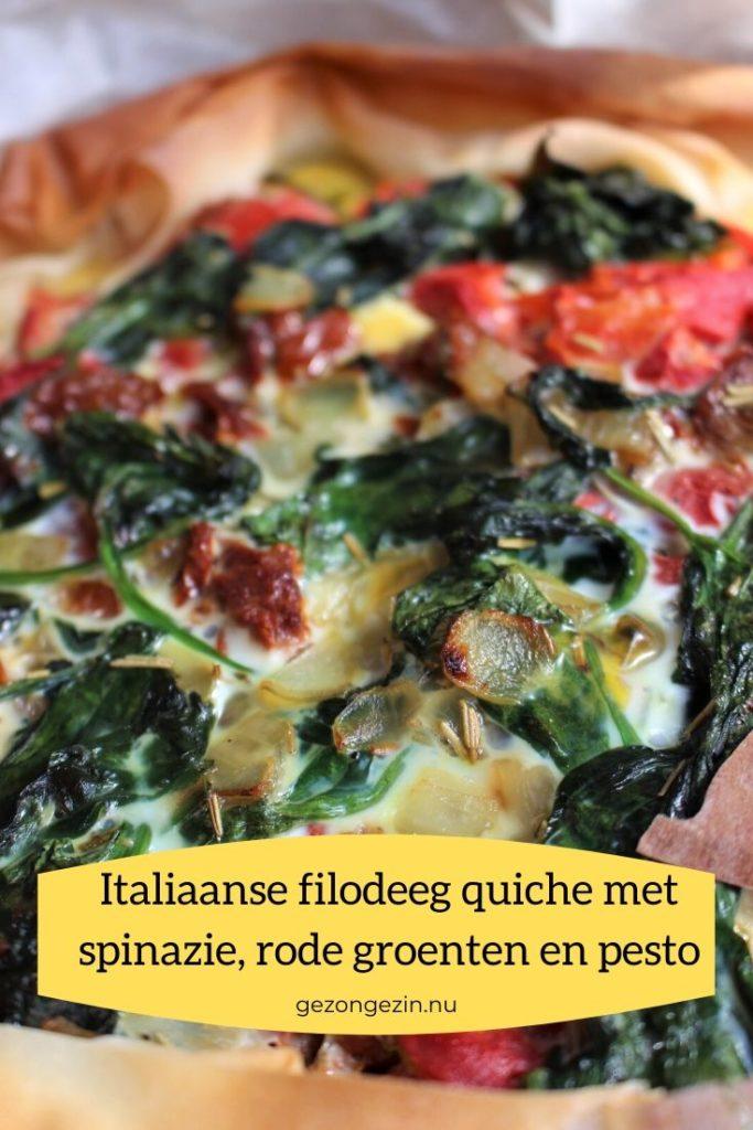 Quiche met spinazie, rode groenten en pesto