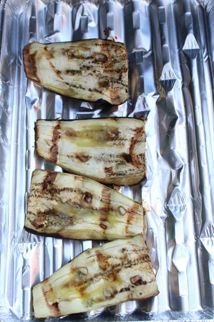 aubergine op de bbq