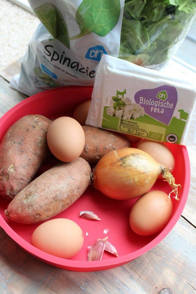 ingrediënten voor de frittat zoete aardappel