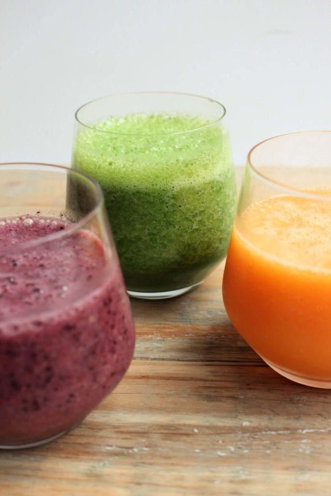 3 kleurige smoothies