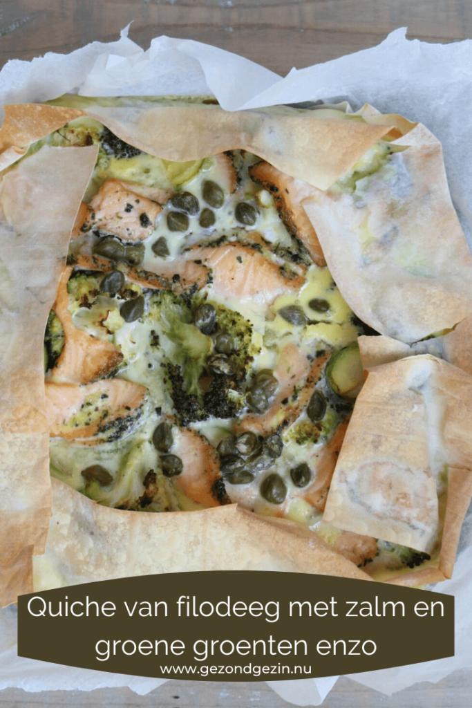 Quiche van filodeeg met zalm en groene groenten