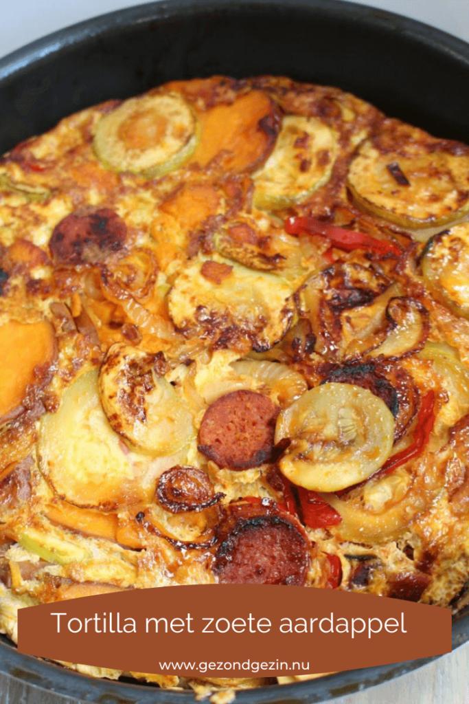 Tortilla met zoete aardappel en chorizo
