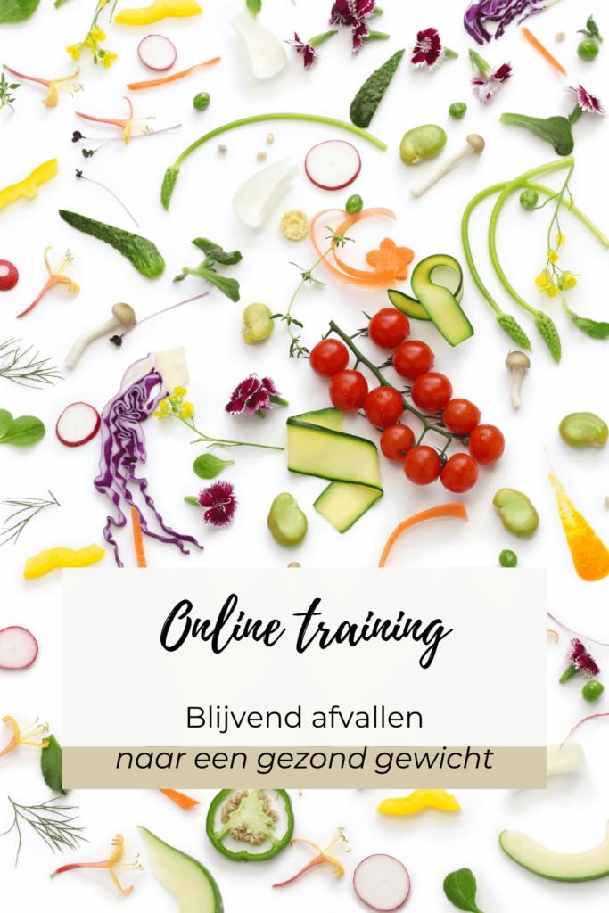 gesneden groenten met de opdruk Online training blijvend afvallen naar een gezond gewicht