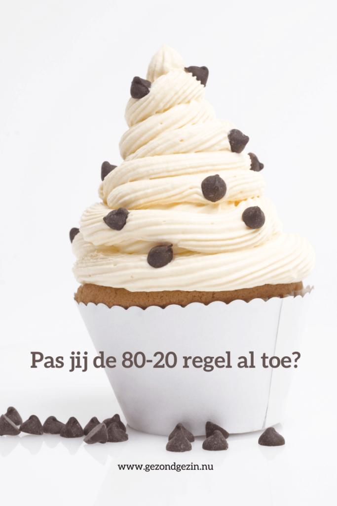 cupcake met de tekst pas jij de 80-20 regel al toe?